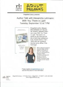 Ridgefield Author Talk Alexandra Lehmann