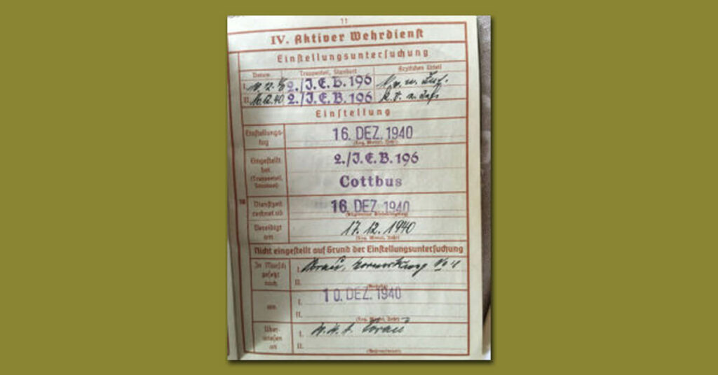 Herbert Gustav Lehmann German military document World War II 2